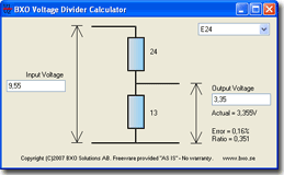 Screenshot of the voltage divider calculator